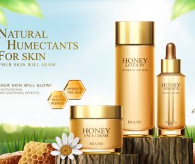 Honey humectants cosmetics poster template vector 03