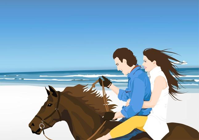 Horse Riders on Beach shiny vector