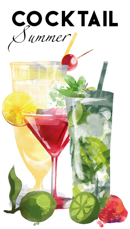 Iced drink hand drawn watercolor vector design material