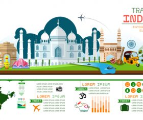 India travel infographic template vector