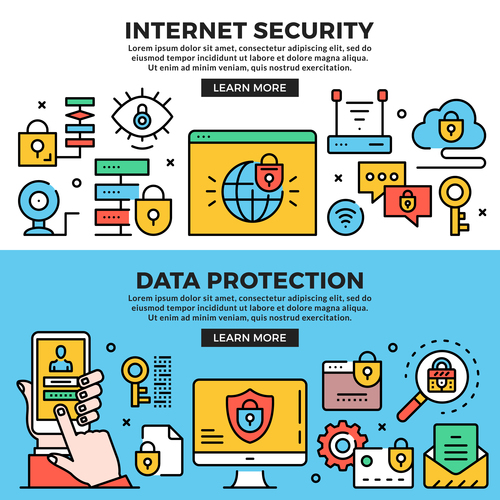 Internet security data protection line banners set