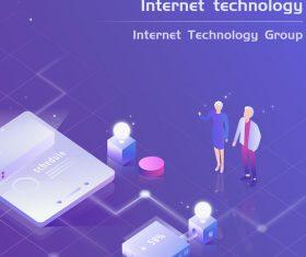 Internet technology business office vector illustration