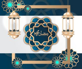 Islamic decor wiht white background design vector 01