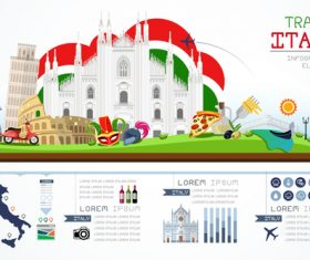 Italy travel infographic template vector
