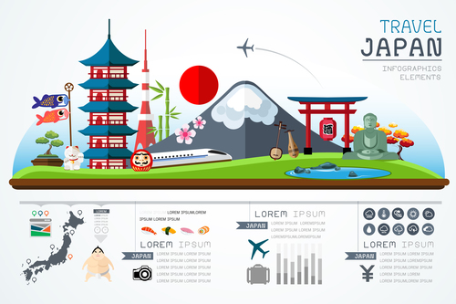 Japan travel infographic template vector