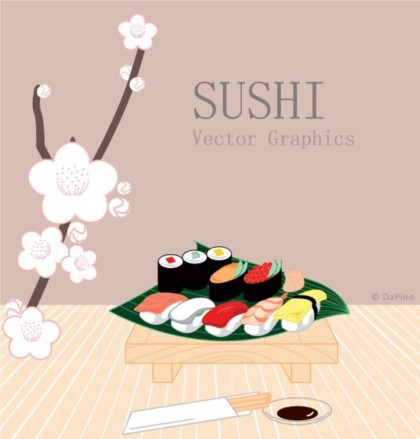 Japanese style Sushi design vectors material