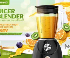 Juice blender poster template vectors 01