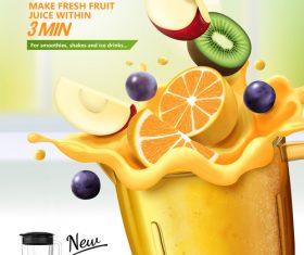 Juice blender poster template vectors 02