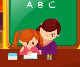 Kindergarten teacher tutoring student to write homework vector illustration
