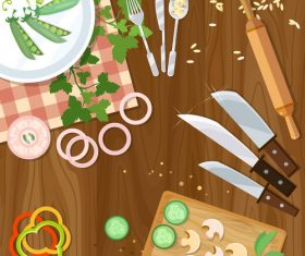 Kitchen supplies with sliced vegetables vector