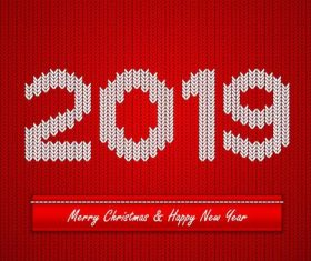 Knitting 2019 new year red background vector