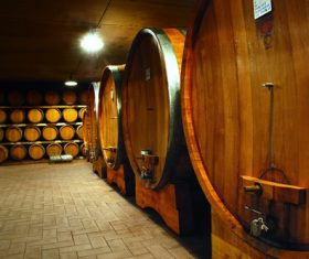 Large capacity wine barrels stored in the basement Stock Photo 01