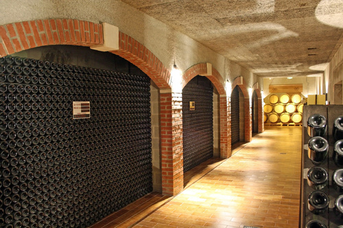 Large capacity wine barrels stored in the basement Stock Photo 03
