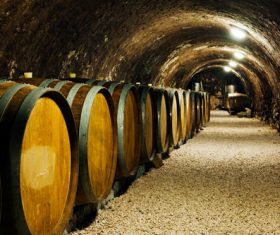 Large capacity wine barrels stored in the basement Stock Photo 04