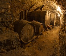 Large capacity wine barrels stored in the basement Stock Photo 08
