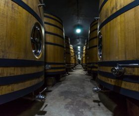 Large capacity wine barrels stored in the basement Stock Photo 12