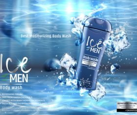 Lce men body wash advertising template vector 03