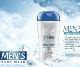 Lce men body wash advertising template vector 05