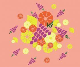 Lemon grape hand drawn vector