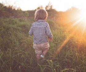 Little child running on the grass Stock Photo