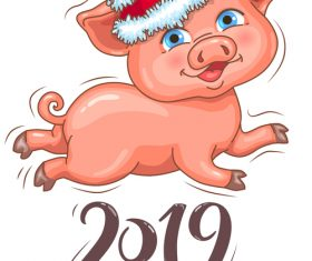Little cute piggy in Santas hat 2019 New Year vector