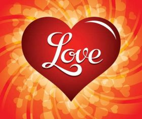 Love background with shiny heart vector