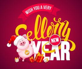 Lucky pig year design vectors 02