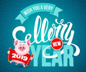 Lucky pig year design vectors 03