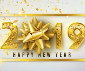Luxury 2019 new year design golden vector