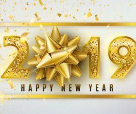 Luxury 2019 new year design golden vector
