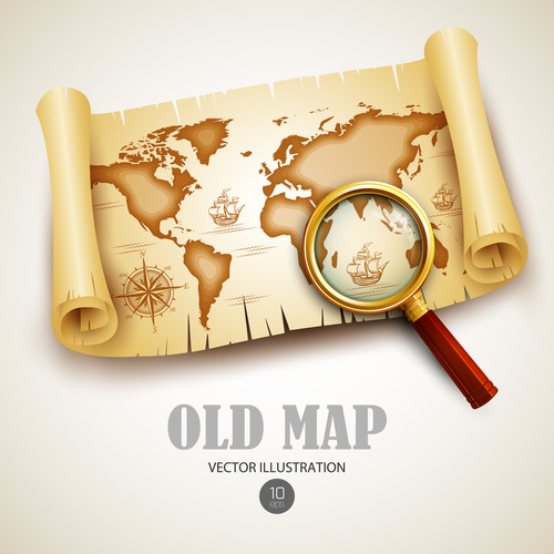 Magnifier with old map vector