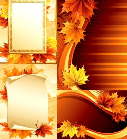 Maple leaf design elements background with frames vector