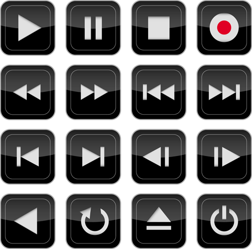 MediPlayer Buttons icons 1 vector graphic