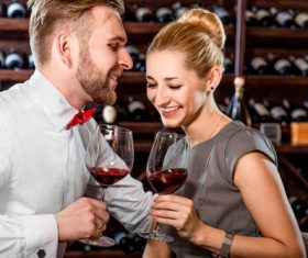 Men and women who taste wine Stock Photo