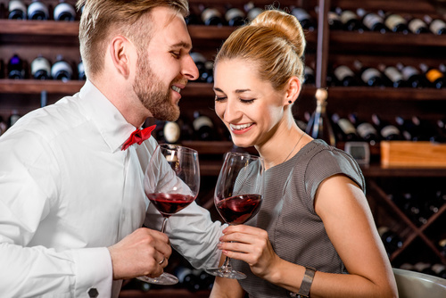 Men and women who taste wine Stock Photo