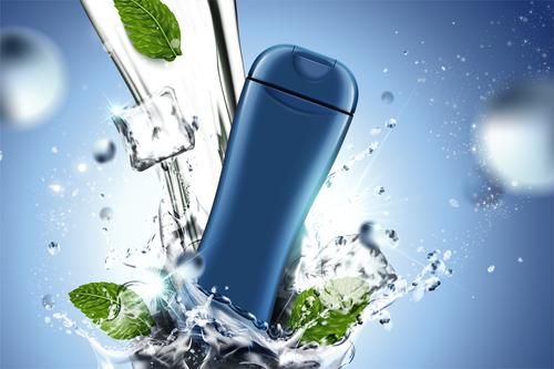 Men body wash package bottle with water vectors 02