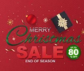 Merry christmas sale end of season design vector