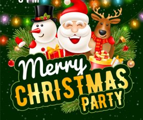 Merry cristmas party poste template vectors