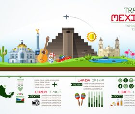 Mextco travel infographic template vector