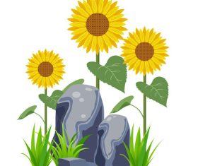 Minimalistic sunflower flower vector cartoon hand drawn
