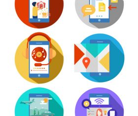 Mobile phone icon elements vector set illustration