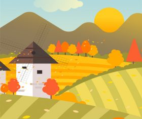 Morning vector illustration in autumn field