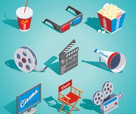 Movies and cinema object design vector 01