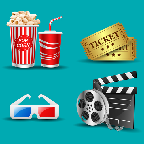 Movies and cinema object design vector 03