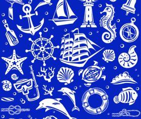 Nautical seamless pattern retro vectors 01