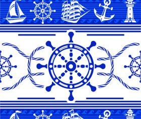 Nautical seamless pattern retro vectors 02