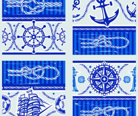 Nautical seamless pattern retro vectors 03