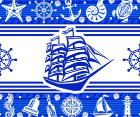 Nautical seamless pattern retro vectors 04