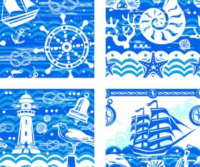 Nautical seamless pattern retro vectors 05