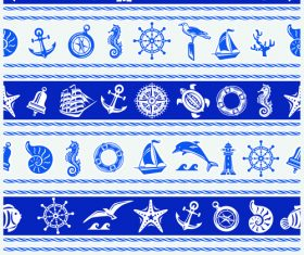 Nautical seamless pattern retro vectors 06